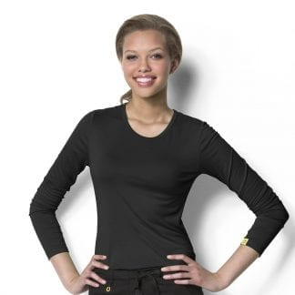 Wonderwink base layer long sleeve top under scrubs
