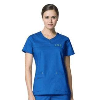 WonderFlex WW6208 Womens Medical Scrubs Curved Notch Neck Top