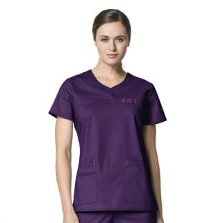 WonderFlex WW6208 Womens Curved Notch Neck Top